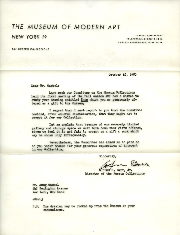 Case study momas rejection letter to andy warhol 1956 the reposted from papermag thecheapjerseys Gallery